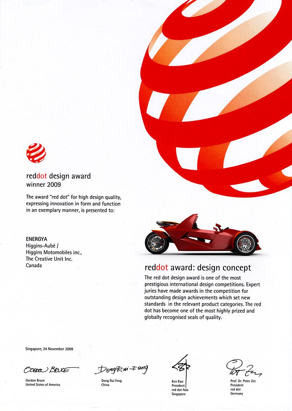 RedDot Design Award Winner 2009